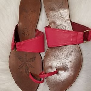 Red Leather Toe Ring Sandals Sz 10